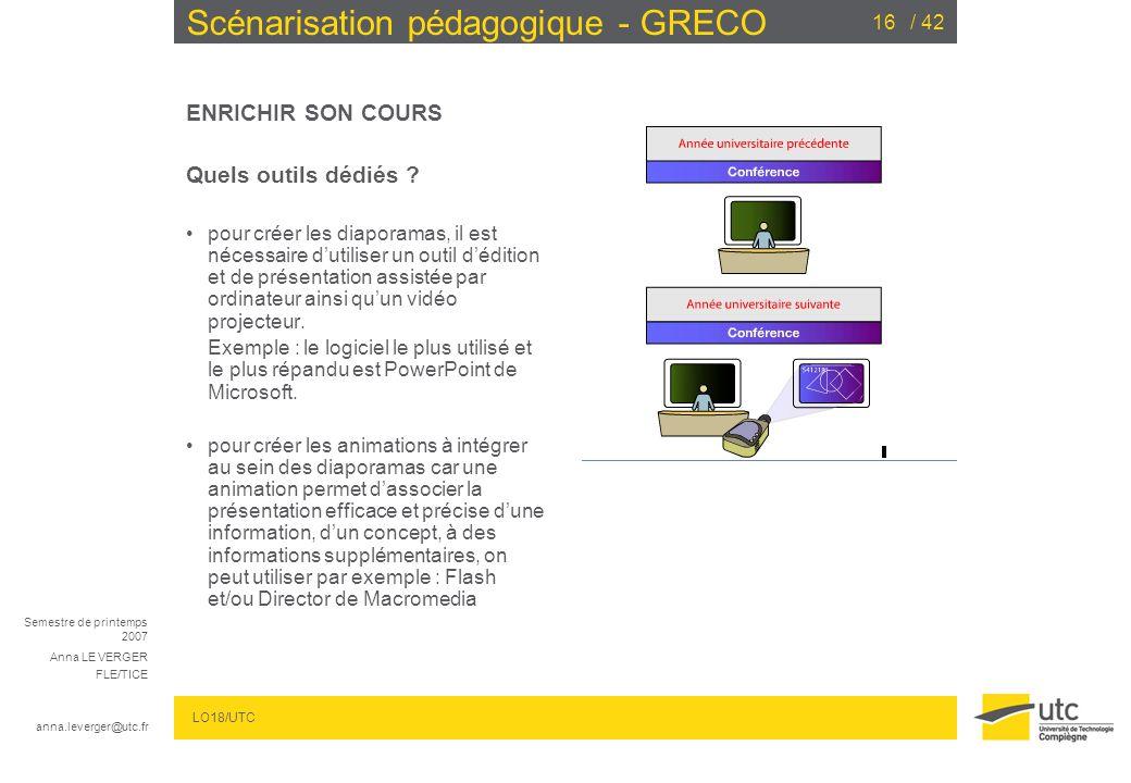 Semestre de printemps 2007 Anna LE VERGER FLE/TICE anna.leverger@utc.fr LO18/UTC / 4216 Scénarisation pédagogique - GRECO ENRICHIR SON COURS Quels outils dédiés .