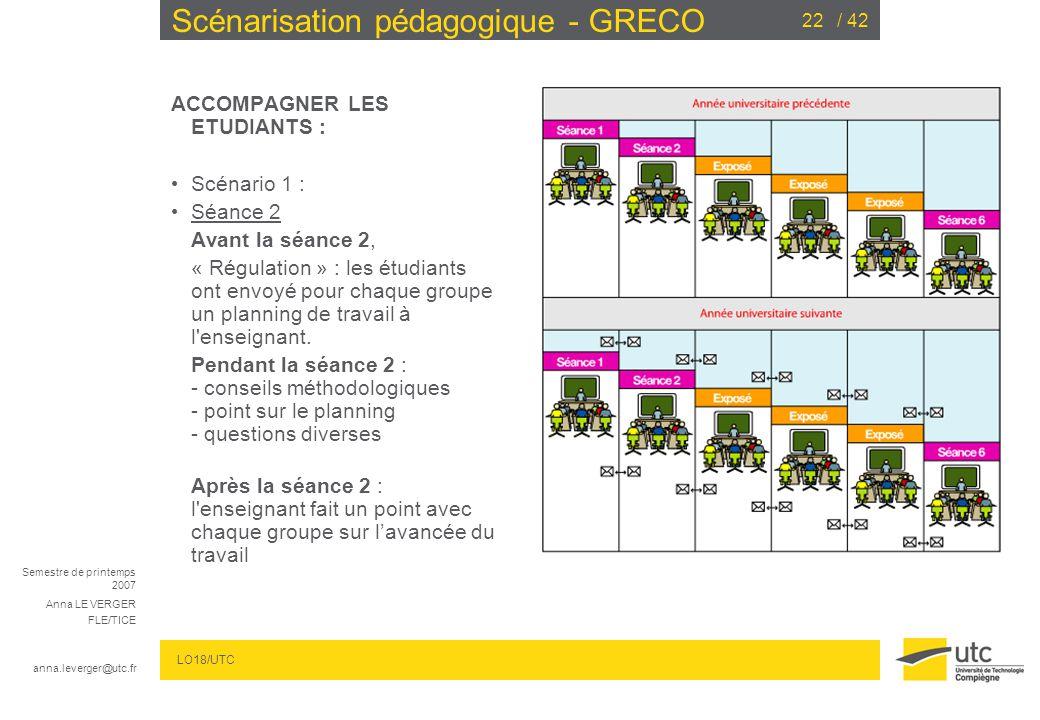 Semestre de printemps 2007 Anna LE VERGER FLE/TICE anna.leverger@utc.fr LO18/UTC / 4222 Scénarisation pédagogique - GRECO ACCOMPAGNER LES ETUDIANTS : Scénario 1 : Séance 2 Avant la séance 2, « Régulation » : les étudiants ont envoyé pour chaque groupe un planning de travail à l enseignant.