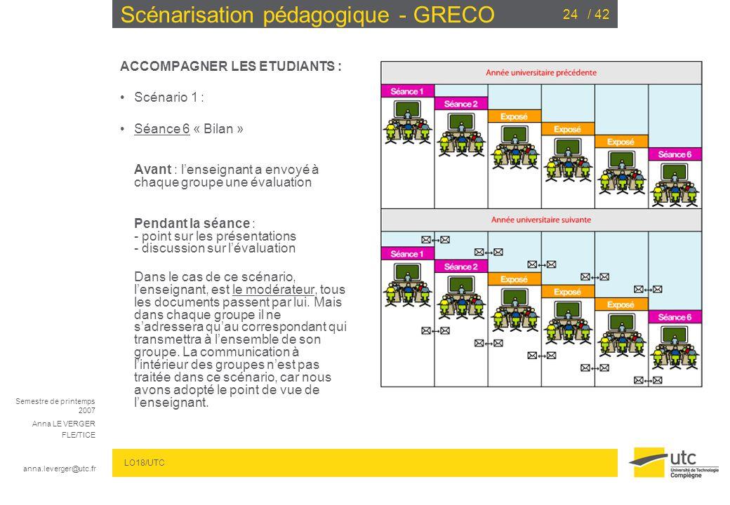Semestre de printemps 2007 Anna LE VERGER FLE/TICE anna.leverger@utc.fr LO18/UTC / 4224 Scénarisation pédagogique - GRECO ACCOMPAGNER LES ETUDIANTS : Scénario 1 : Séance 6 « Bilan » Avant : lenseignant a envoyé à chaque groupe une évaluation Pendant la séance : - point sur les présentations - discussion sur lévaluation Dans le cas de ce scénario, lenseignant, est le modérateur, tous les documents passent par lui.