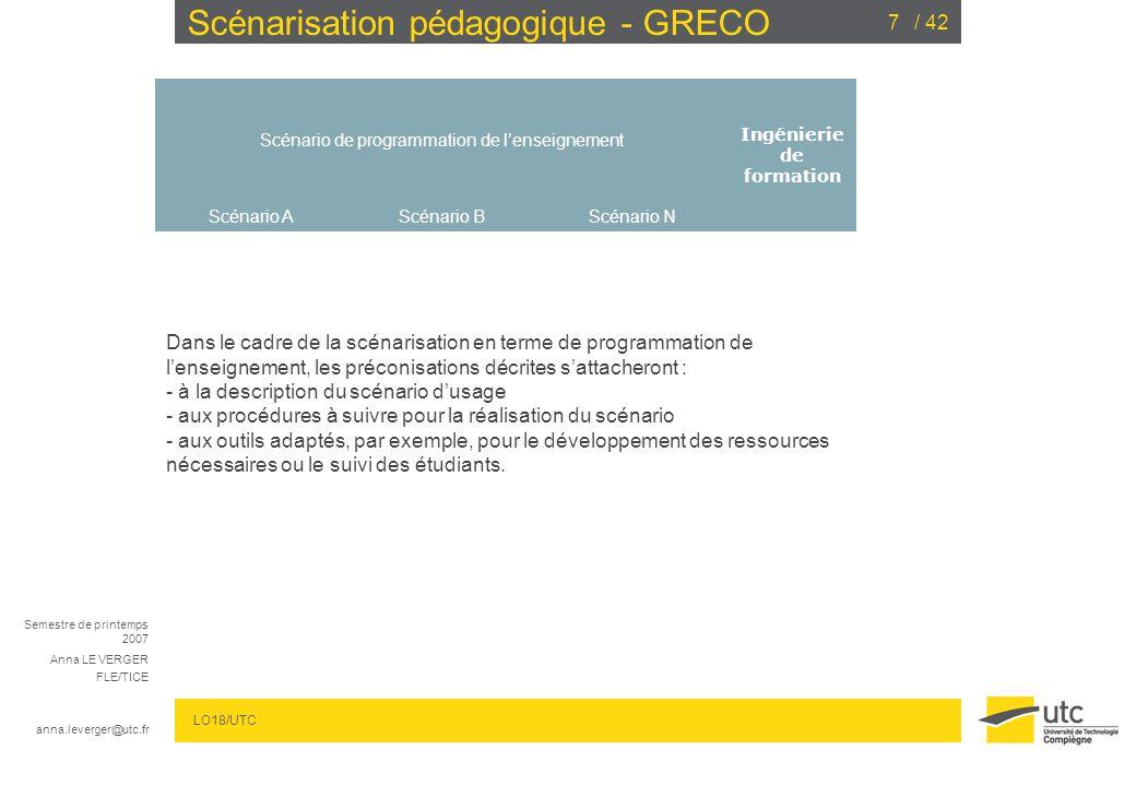 Semestre de printemps 2007 Anna LE VERGER FLE/TICE anna.leverger@utc.fr LO18/UTC / 4228 Scénarisation pédagogique - GRECO ACCOMPAGNER LES ETUDIANTS : Scénario 2 : Quels sont les outils .