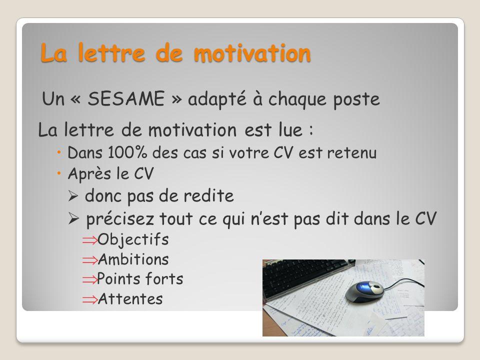 La lettre de motivation Un « SESAME » adapté à chaque poste La lettre de motivation est lue : Dans 100% des cas si votre CV est retenu Après le CV don
