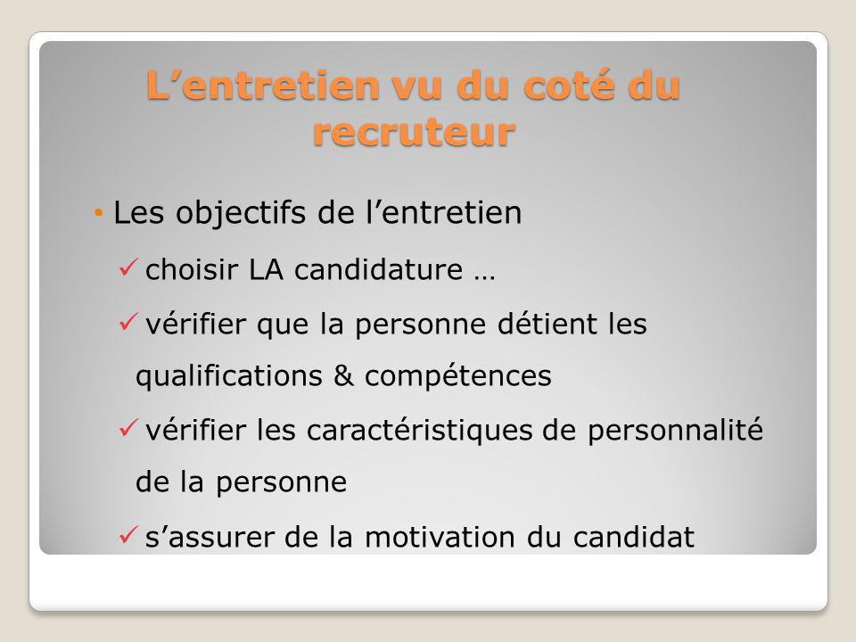 Lentretien vu du coté du recruteur Les objectifs de lentretien choisir LA candidature … vérifier que la personne détient les qualifications & compéten