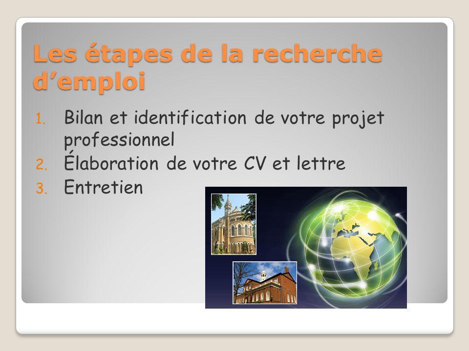 Les étapes de la recherche demploi 1. Bilan et identification de votre projet professionnel 2. Élaboration de votre CV et lettre 3. Entretien
