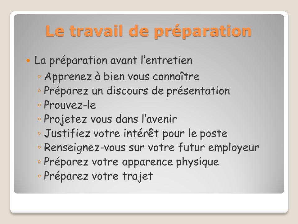 Le travail de préparation La préparation avant lentretien Apprenez à bien vous connaître Préparez un discours de présentation Prouvez-le Projetez vous