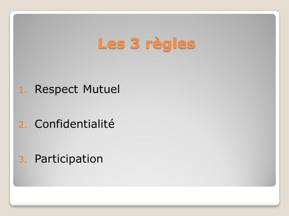 Les 3 règles 1. Respect Mutuel 2. Confidentialité 3. Participation