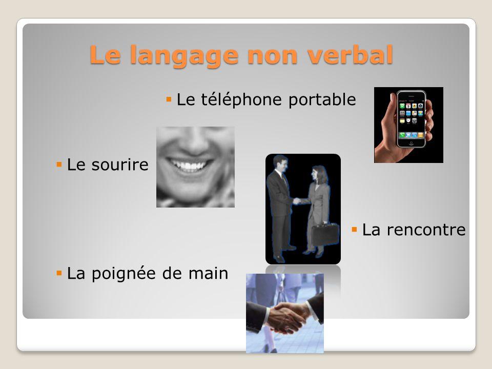 Le langage non verbal Le téléphone portable Le sourire La rencontre La poignée de main