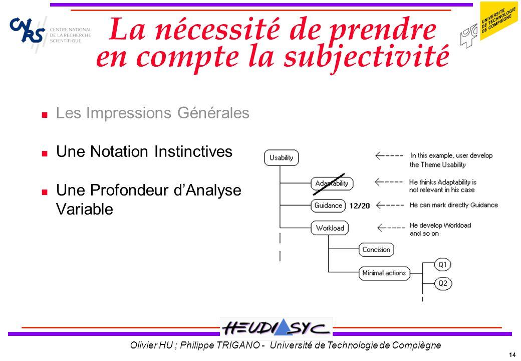 14 Olivier HU ; Philippe TRIGANO - Université de Technologie de Compiègne La nécessité de prendre en compte la subjectivité Les Impressions Générales
