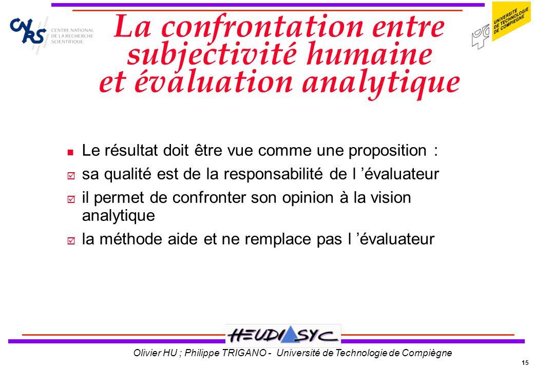 15 Olivier HU ; Philippe TRIGANO - Université de Technologie de Compiègne La confrontation entre subjectivité humaine et évaluation analytique Le résu