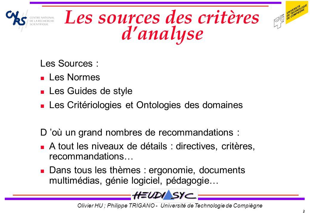 2 Olivier HU ; Philippe TRIGANO - Université de Technologie de Compiègne Les sources des critères danalyse Les Sources : Les Normes Les Guides de styl