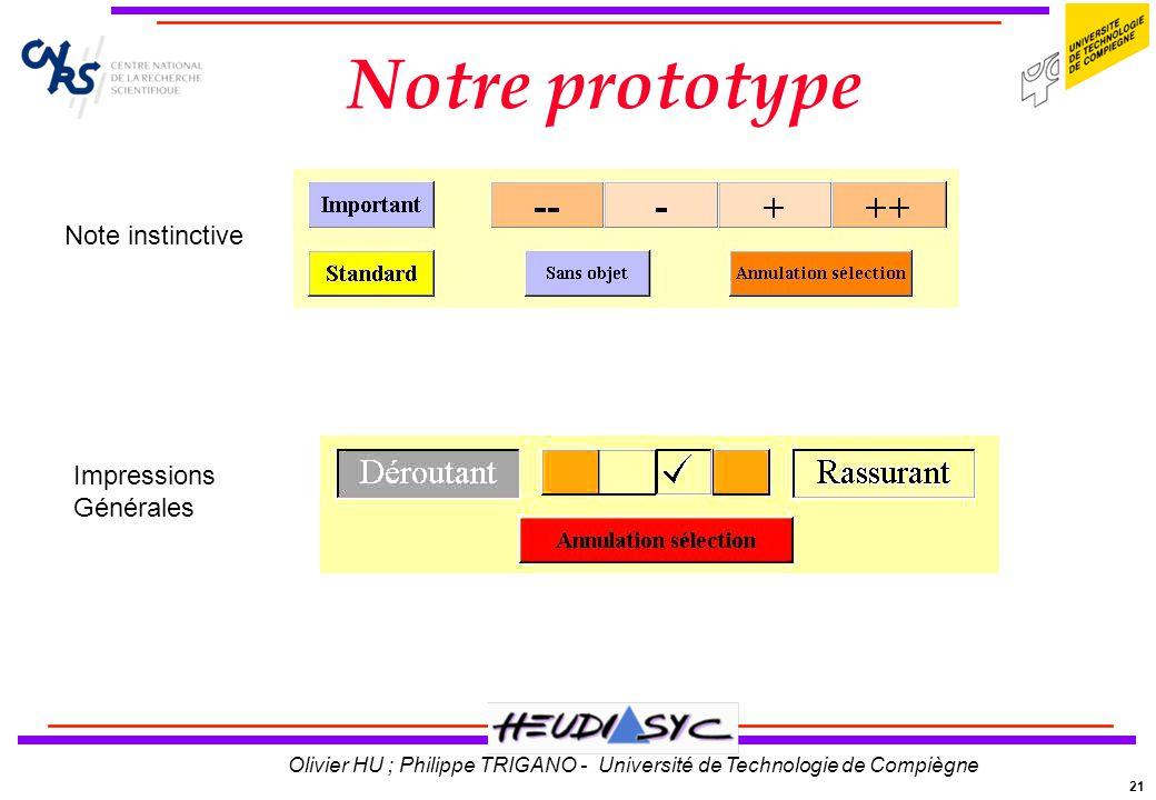 21 Olivier HU ; Philippe TRIGANO - Université de Technologie de Compiègne Notre prototype Note instinctive Impressions Générales