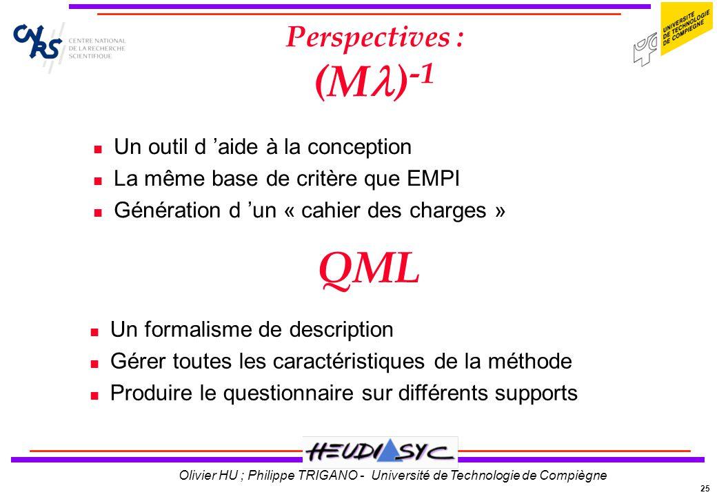 25 Olivier HU ; Philippe TRIGANO - Université de Technologie de Compiègne Perspectives : (M ) -1 Un outil d aide à la conception La même base de critè