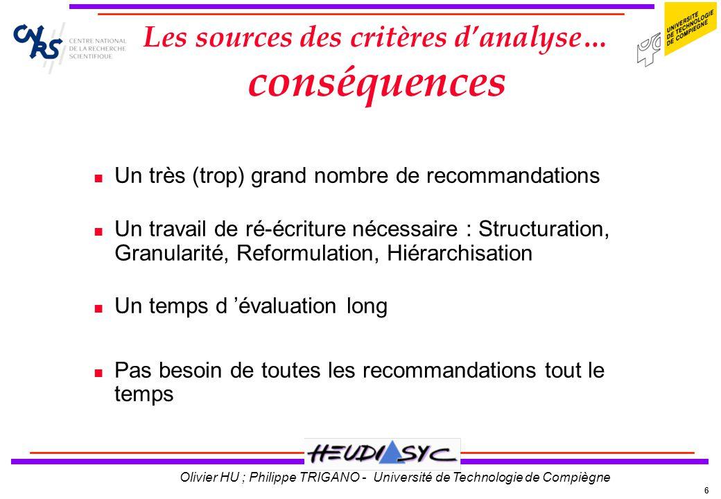 6 Olivier HU ; Philippe TRIGANO - Université de Technologie de Compiègne Les sources des critères danalyse… conséquences n Un très (trop) grand nombre