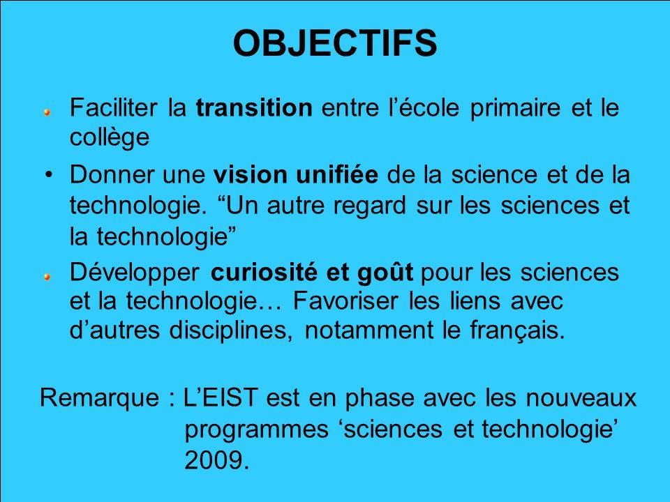 OBJECTIFS Faciliter la transition entre lécole primaire et le collège Donner une vision unifiée de la science et de la technologie. Un autre regard su