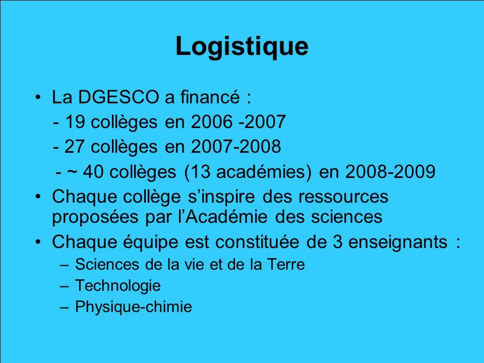 Logistique La DGESCO a financé : - 19 collèges en 2006 -2007 - 27 collèges en 2007-2008 - ~ 40 collèges (13 académies) en 2008-2009 Chaque collège sin