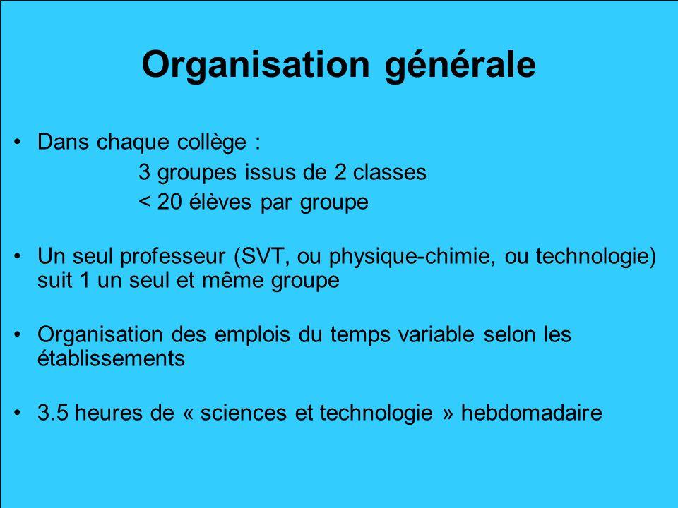 Organisation générale Dans chaque collège : 3 groupes issus de 2 classes < 20 élèves par groupe Un seul professeur (SVT, ou physique-chimie, ou techno