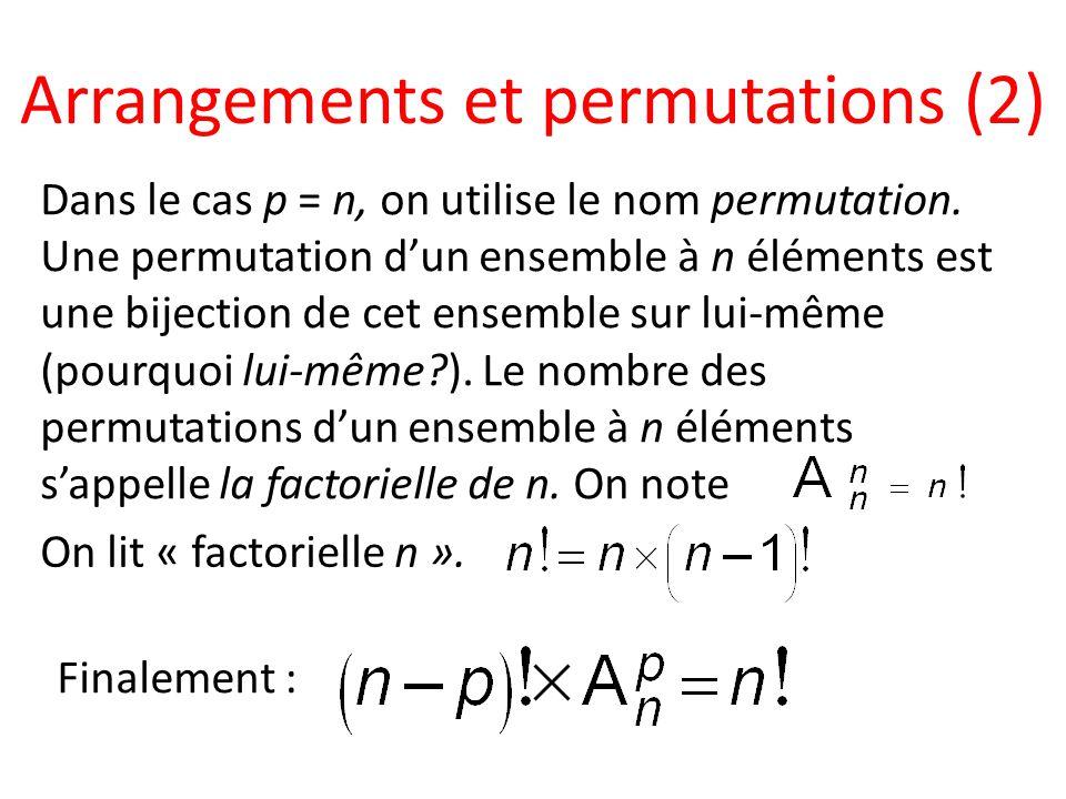 Arrangements et permutations (2) Dans le cas p = n, on utilise le nom permutation. Une permutation dun ensemble à n éléments est une bijection de cet