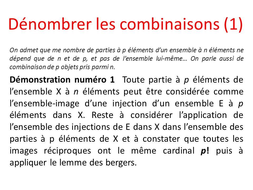 Dénombrer les combinaisons (1) On admet que me nombre de parties à p éléments dun ensemble à n éléments ne dépend que de n et de p, et pas de lensembl