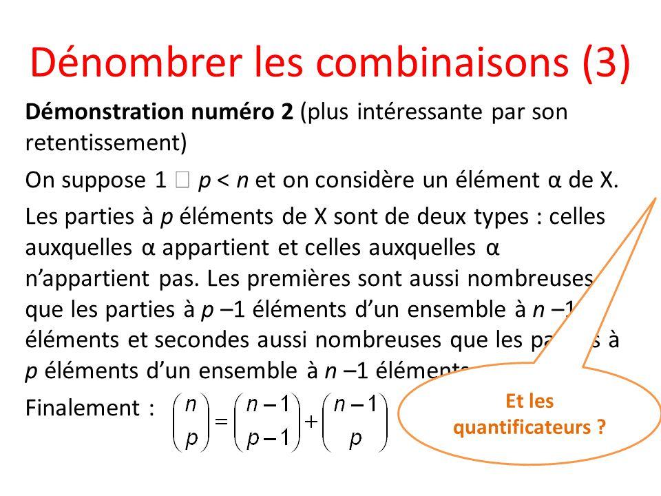 Dénombrer les combinaisons (3) Démonstration numéro 2 (plus intéressante par son retentissement) On suppose 1 p < n et on considère un élément α de X.