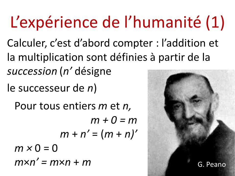 Lexpérience de lhumanité (1) Calculer, cest dabord compter : laddition et la multiplication sont définies à partir de la succession (n désigne le succ