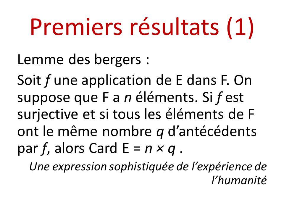 Premiers résultats (1) Lemme des bergers : Soit f une application de E dans F. On suppose que F a n éléments. Si f est surjective et si tous les éléme