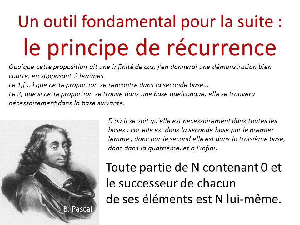 Un outil fondamental pour la suite : le principe de récurrence B. Pascal Quoique cette proposition ait une infinité de cas, j'en donnerai une démonstr