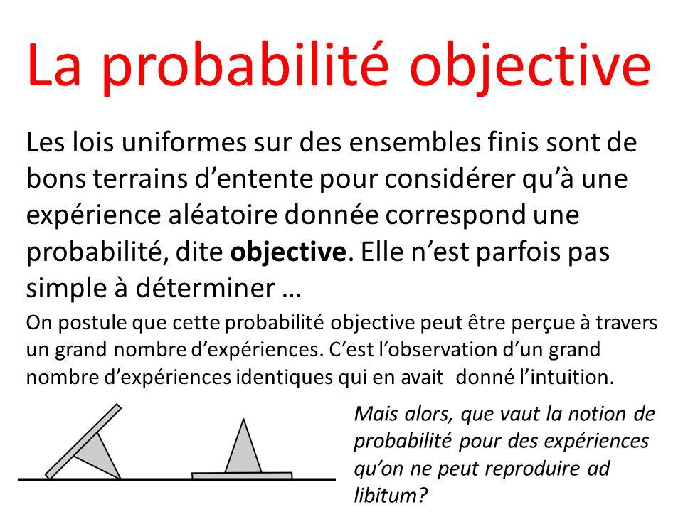 La probabilité objective Les lois uniformes sur des ensembles finis sont de bons terrains dentente pour considérer quà une expérience aléatoire donnée correspond une probabilité, dite objective.
