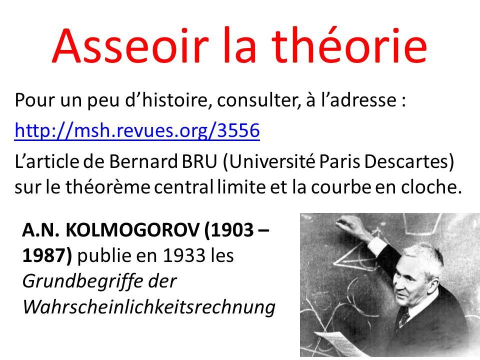 Asseoir la théorie Pour un peu dhistoire, consulter, à ladresse : http://msh.revues.org/3556 Larticle de Bernard BRU (Université Paris Descartes) sur le théorème central limite et la courbe en cloche.
