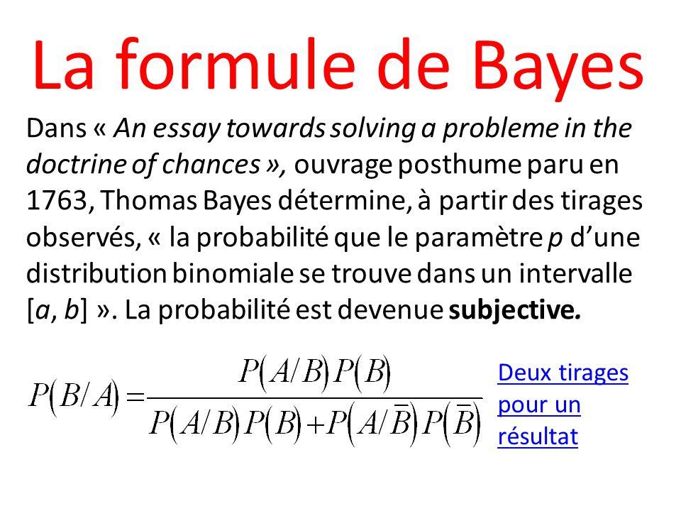La formule de Bayes Dans « An essay towards solving a probleme in the doctrine of chances », ouvrage posthume paru en 1763, Thomas Bayes détermine, à partir des tirages observés, « la probabilité que le paramètre p dune distribution binomiale se trouve dans un intervalle [a, b] ».
