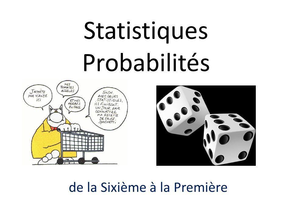 Deux grands domaines en statistique : Statistique descriptive analyse des propriétés des données observées Statistique inférentielle recherche dun modèle théorique compatible avec les données observées La statistique : la théorie mathématique de la prise de décision face à lincertitude Les probabilités : la théorie mathématique de la mesure de lincertitude