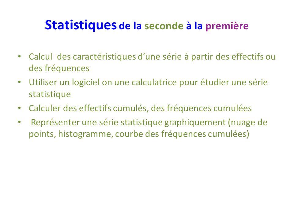 Statistiques de la seconde à la première Calcul des caractéristiques dune série à partir des effectifs ou des fréquences Utiliser un logiciel on une c