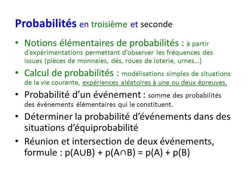 Probabilités en troisième et seconde Notions élémentaires de probabilités : à partir dexpérimentations permettant dobserver les fréquences des issues