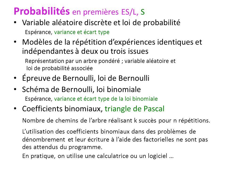 Probabilités en premières ES/L, S Variable aléatoire discrète et loi de probabilité Espérance, variance et écart type Modèles de la répétition dexpéri