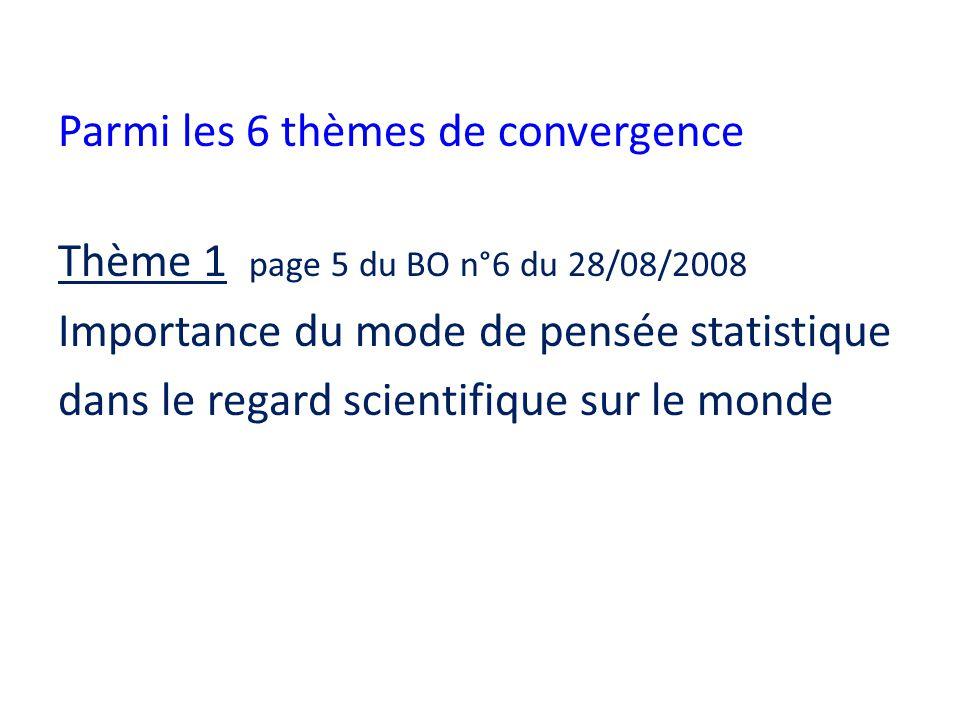 Parmi les 6 thèmes de convergence Thème 1 page 5 du BO n°6 du 28/08/2008 Importance du mode de pensée statistique dans le regard scientifique sur le m