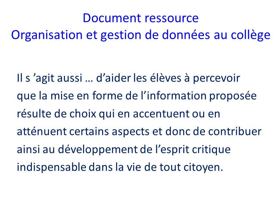 Document ressource Organisation et gestion de données au collège Il s agit aussi … daider les élèves à percevoir que la mise en forme de linformation