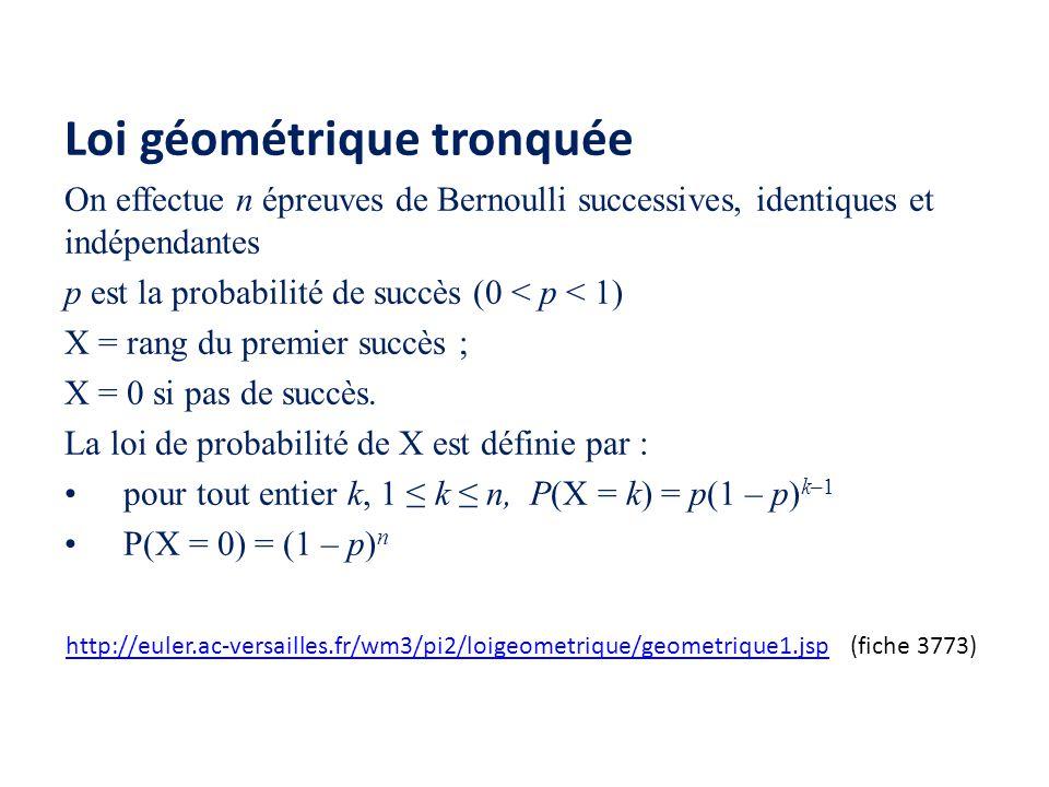 Loi géométrique tronquée On effectue n épreuves de Bernoulli successives, identiques et indépendantes p est la probabilité de succès (0 < p < 1) X = r