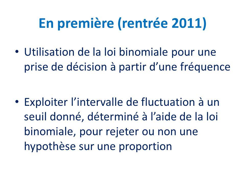 En première (rentrée 2011) Utilisation de la loi binomiale pour une prise de décision à partir dune fréquence Exploiter lintervalle de fluctuation à u