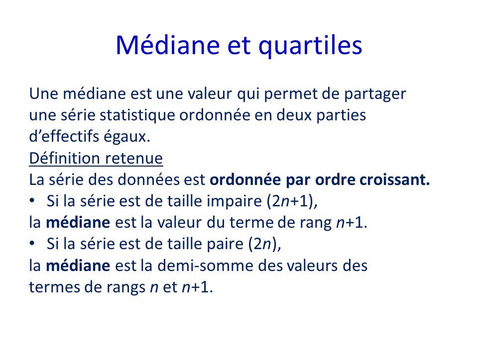 Médiane et quartiles Une médiane est une valeur qui permet de partager une série statistique ordonnée en deux parties deffectifs égaux. Définition ret