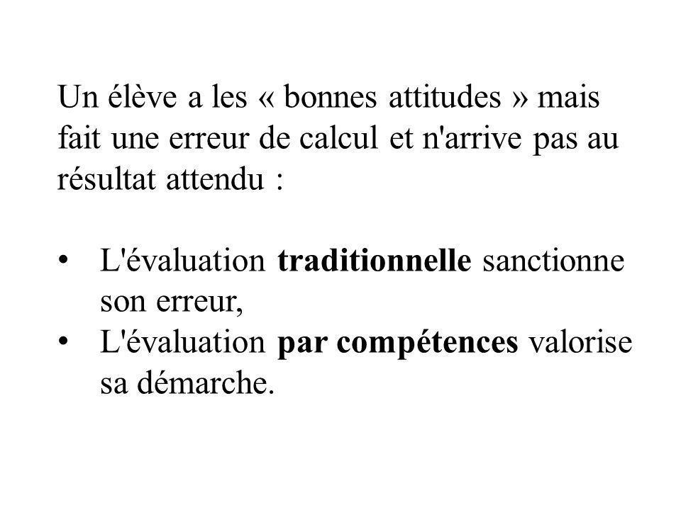 Un élève a les « bonnes attitudes » mais fait une erreur de calcul et n arrive pas au résultat attendu : L évaluation traditionnelle sanctionne son erreur, L évaluation par compétences valorise sa démarche.
