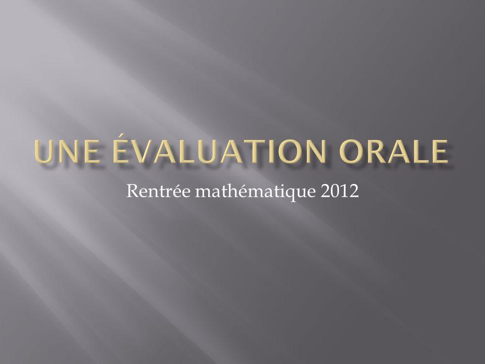 Rentrée mathématique 2012