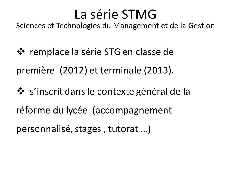 La série STMG Sciences et Technologies du Management et de la Gestion remplace la série STG en classe de première (2012) et terminale (2013). sinscrit