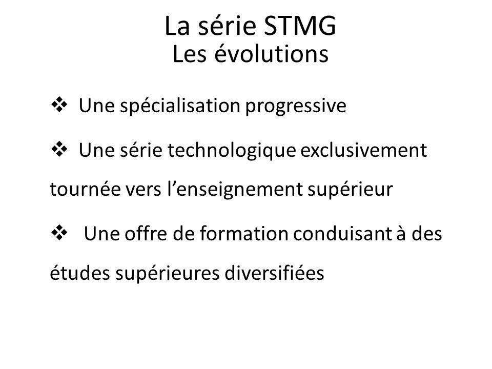 Une spécialisation progressive Une série technologique exclusivement tournée vers lenseignement supérieur Une offre de formation conduisant à des études supérieures diversifiées La série STMG Les évolutions
