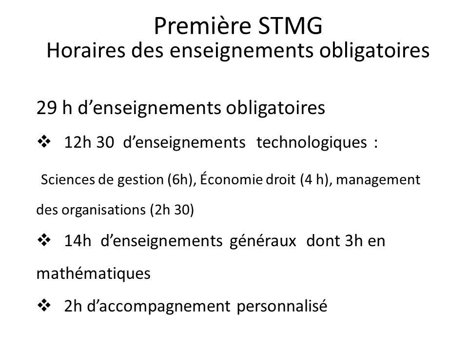 Première STMG Horaires des enseignements obligatoires 29 h denseignements obligatoires 12h 30 denseignements technologiques : Sciences de gestion (6h)