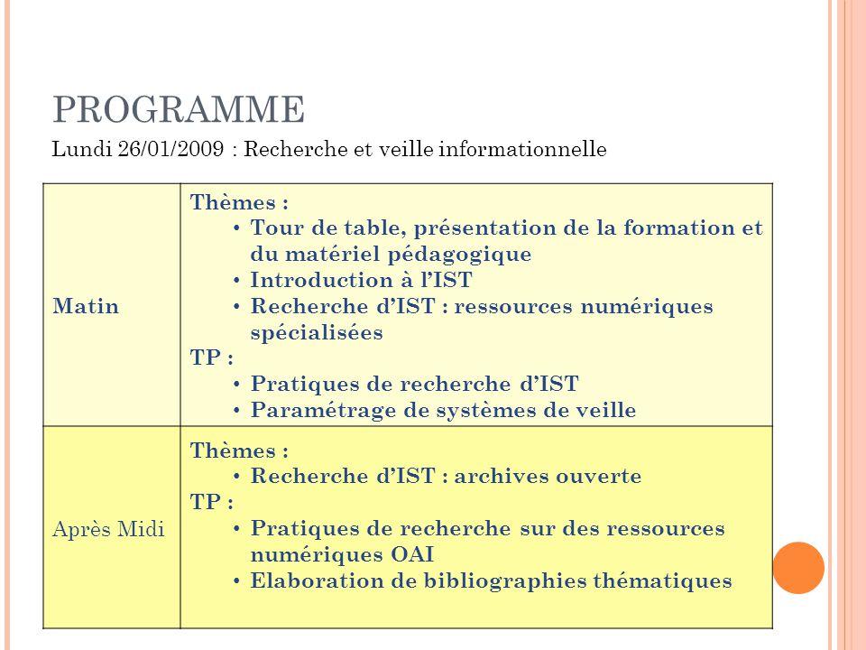 PROGRAMME Matin Thèmes : Tour de table, présentation de la formation et du matériel pédagogique Introduction à lIST Recherche dIST : ressources numéri