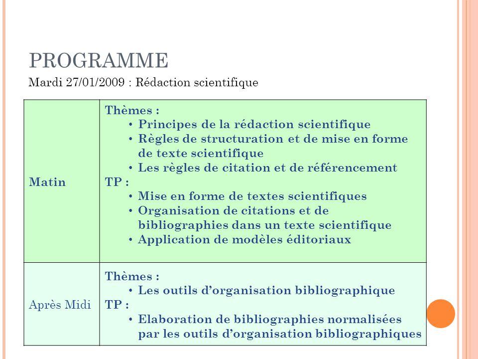PROGRAMME Matin Thèmes : Principes de la rédaction scientifique Règles de structuration et de mise en forme de texte scientifique Les règles de citati