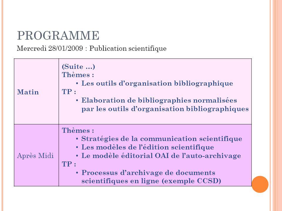 PROGRAMME Matin (Suite …) Thèmes : Les outils dorganisation bibliographique TP : Elaboration de bibliographies normalisées par les outils dorganisatio