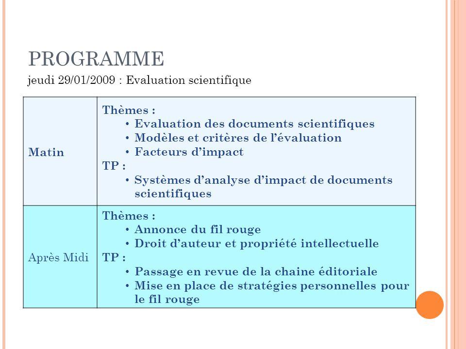PROGRAMME Matin Thèmes : Evaluation des documents scientifiques Modèles et critères de lévaluation Facteurs dimpact TP : Systèmes danalyse dimpact de