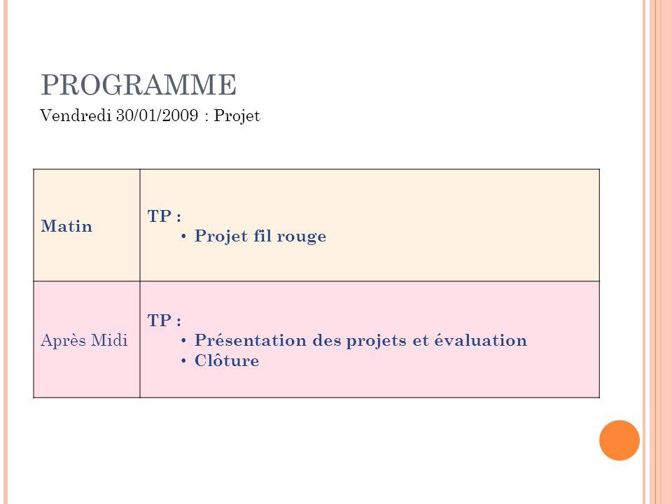 PROGRAMME Matin TP : Projet fil rouge Après Midi TP : Présentation des projets et évaluation Clôture Vendredi 30/01/2009 : Projet