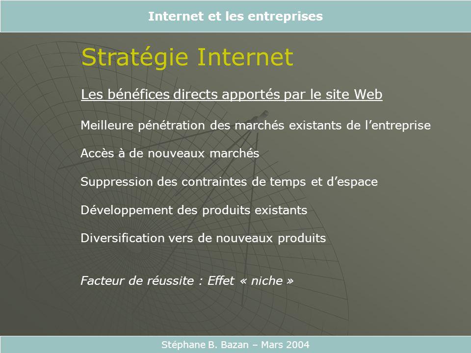 Internet et les entreprises Stéphane B. Bazan – Mars 2004 Stratégie Internet Les bénéfices directs apportés par le site Web Meilleure pénétration des