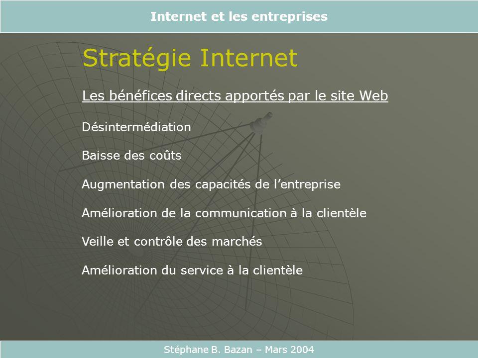 Internet et les entreprises Stéphane B. Bazan – Mars 2004 Stratégie Internet Les bénéfices directs apportés par le site Web Désintermédiation Baisse d