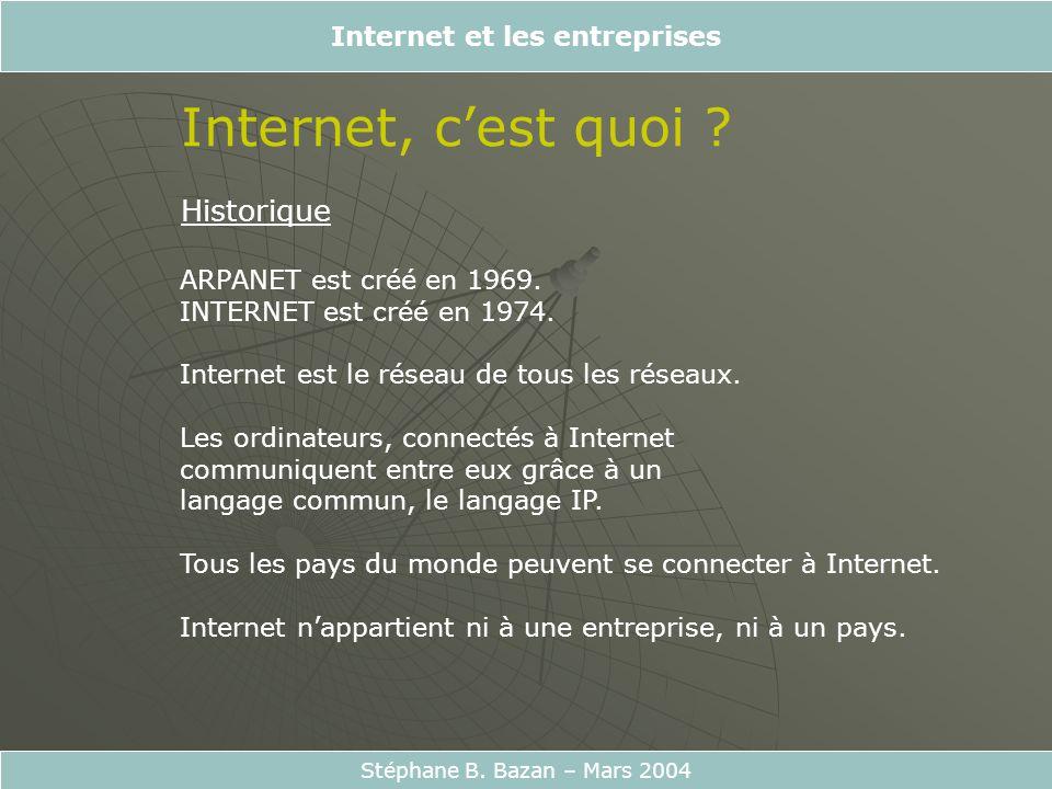 Stéphane B. Bazan – Mars 2004 Internet, cest quoi ? Historique ARPANET est créé en 1969. INTERNET est créé en 1974. Internet est le réseau de tous les